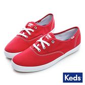 KEDS 品牌經典休閒鞋 紅 W110003 女鞋 綁帶│平底│帆布