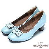 ★2018春夏新品★【CUMAR】春意盎然花朵裝飾真皮高跟鞋(灰藍)