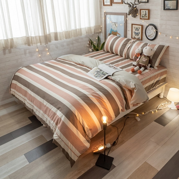 奈良小路 D3雙人床包與雙人新式兩用被五件組 100%精梳棉 台灣製 棉床本舖