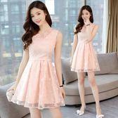 洋裝 夏季新款連身裙韓版時尚小清新修身無袖背心蕾絲A字裙中長款 綠光森林