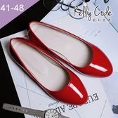 大尺碼女鞋-凱莉密碼-素面簡約清爽風漆皮百搭圓頭平底鞋1cm(41-48)【HO28-5】紅色