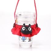啵啵貓 黑貓頭兩用環保手提杯套/環保杯套/飲料杯套/拼布包包