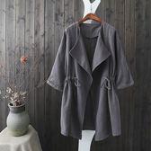 棉麻 率性風9分袖外套罩衫-大尺碼 獨具衣格