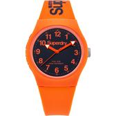 Superdry極度乾燥 Urban系列個性搖擺運動腕錶-橘x黑
