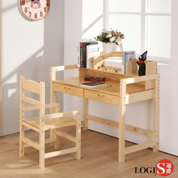 LOGIS大地實木成長桌椅組80X50CM 書桌椅 學習桌椅 兒童桌椅 學生桌椅 需組裝 CB80