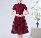 (45 Design)  大尺碼短禮服蕾絲 中國風 中老年旗袍 兒女結婚婚禮洋裝3