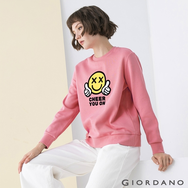 【GIORDANO】女裝CHEER YOU ON大學T恤 - 07 薔薇粉紅