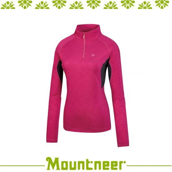 【Mountneer 山林 女遠紅雲彩保暖上衣《深粉紅》】32P16/高領/長袖/旅遊