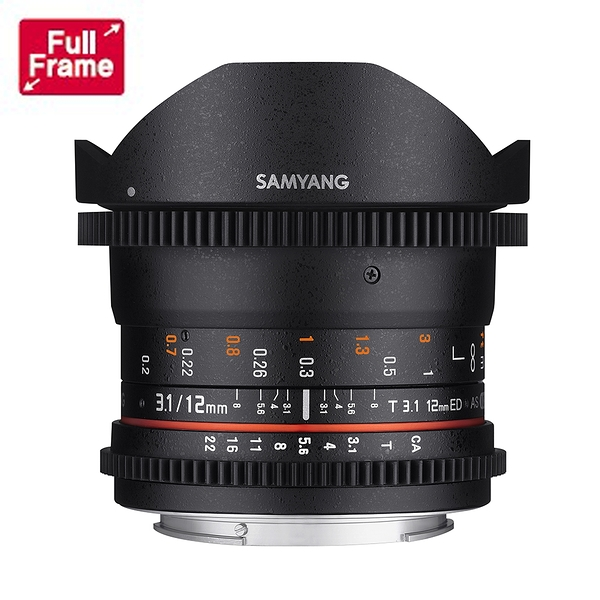 【聖影數位】SAMYANG 三陽 12mm T3.1 VDSLR ED AS NCS 全幅 Fisheye 魚眼 微電影鏡頭 SONY E接環