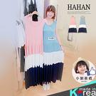 【HC4864】撞色蛋糕拼接絲質棉傘襬洋裝