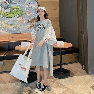胖妹妹大碼洋裝連身裙~韓版裝女蕾絲短袖T恤長裙韓版寬松胖MM連身裙NA06C莎菲娜