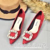 水鑽女鞋紅色高跟鞋新娘鞋結婚鞋子尖頭低跟鞋女細跟3Cm 『CR水晶鞋坊』