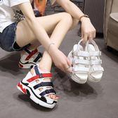 厚底涼鞋 女高跟鞋正韓沙灘鞋一字帶運動鞋
