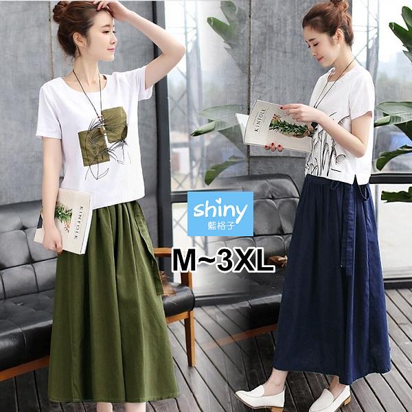 【V3345】shiny藍格子-民族文藝.顯瘦印花上衣鬆緊腰中長裙兩件式套裝