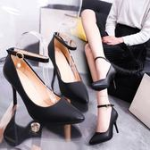 大尺碼涼鞋細跟尖頭中跟女黑色大碼一字扣高跟職業鞋 mc8184『東京衣社』