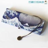日式筆簾折疊筆袋棉麻帆布捆綁【洛麗的雜貨鋪】