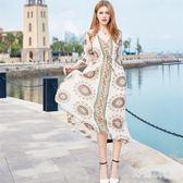 波西米亞洋裝泰新款民族風雪紡海邊度假長裙仙zzy3109『時尚玩家』