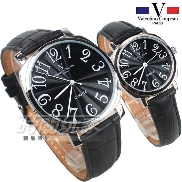 valentino coupeau范倫鐵諾 方圓數字時尚錶 黑色 對錶 V61601B黑大+V61601B黑小
