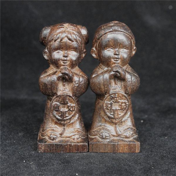 [協貿國際]越南天然沉香木木雕手把件金童玉1入