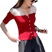 EASON SHOP(GW7326)韓版撞色拼接小透視坑條紋短版彈力貼身小V領排釦短袖針織衫T恤女上衣服內搭衫薄
