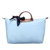 LONGCHAMP短提把大型摺疊水餃包手提包肩背包(淡藍色-含帕巾)480102-A30