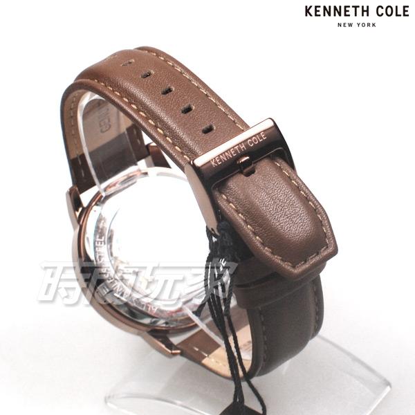 Kenneth Cole 羅馬時刻 雙面鏤空 腕錶 自動上鍊機械錶 男錶 真皮錶帶 古銅色電鍍+咖啡色 KC50779004