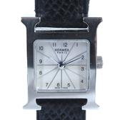 HERMES 愛馬仕 黑色皮錶帶石英腕錶 H Watch 【二手名牌 BRAND OFF】