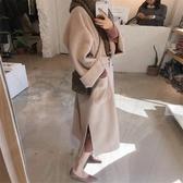 長版大衣風衣赫本風呢子大衣女中長版 新品秋冬季正韓流行雙面羊絨毛呢外套推薦