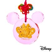 Disney迪士尼金飾 金祝福美妮 黃金/水晶鎖片