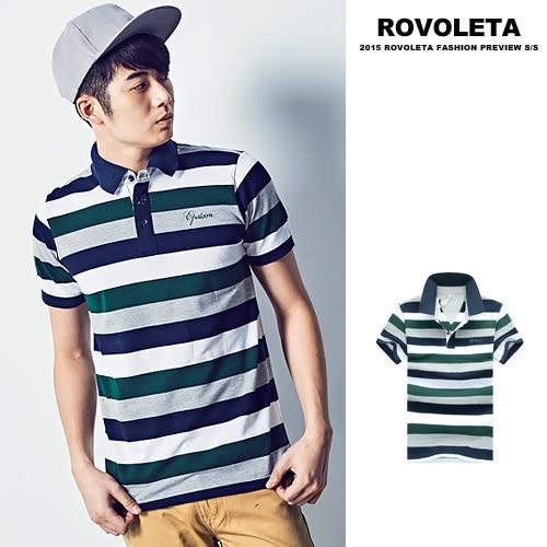 藍綠條紋立領短袖POLO杉【TJ-N1604】(ROVOLETA)