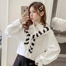 限時特價 披肩襯衫女設計感小眾春秋新款韓版寬松顯瘦減齡泡泡長袖上衣