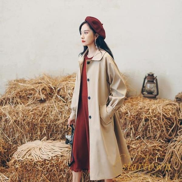 風衣女中長款氣質大衣秋季韓版寬鬆休閒外套【繁星小鎮】
