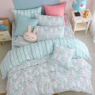 鴻宇 四件式雙人薄被套床包組 眠眠兔藍 美國棉授權品牌 台灣製2225