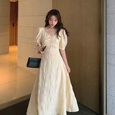 短袖連身裙-露背復古收腰氣質洋裝2款74ag9[巴黎精品]