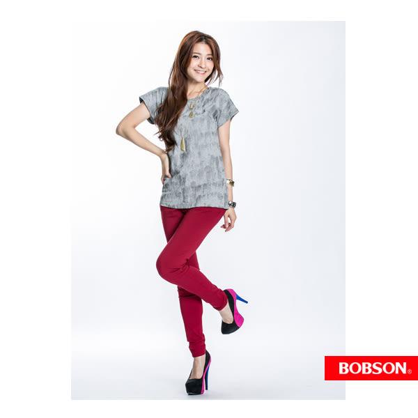 BOBSON 女款刷紋印圖短袖上衣(21098-83)