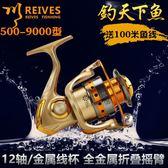 捲線器 1000-7000型12軸全金屬頭搖臂漁輪垂釣漁線輪紡車輪海竿輪 英雄聯盟