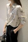 襯衫 上衣新時尚女主角--法式慵懶味道 素描緞面斜紋真絲長袖襯衣 GD711 皇潮天下