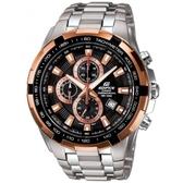 CASIO EDIFICE 新貴耀眼賽車主義三眼指針錶-黑X玫瑰金面(EF-539D-1A5)