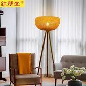 東南亞創意竹編落地燈現代中式復古客廳燈具臥室餐廳書房酒樓燈飾