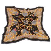 Christian Dior 古典花紋鎖鍊框邊緞面領帕巾(黑) 179007