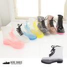 [Here Shoes]8色 韓版繽紛碎花透明果凍雨鞋 馬汀鞋 馬丁鞋 雨靴(買就送襪子韓國製造)─AR601-1