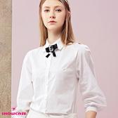 【SHOWCASE】俏麗燈籠七分袖簡約甜美OL襯衫(白)