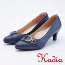 kadia.D型扣環牛皮尖頭低跟鞋(95...