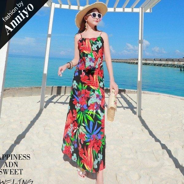 Anniyo安妞‧泰國風細肩帶上衣+魚尾裙海邊度假波西米亞長裙棉麻印花長裙沙灘裙兩件套裙裝套裝
