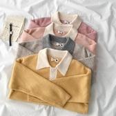 撞色翻領毛衣早秋季2019年新款女裝韓版寬鬆外穿長袖套頭上衣潮 米娜小鋪