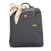 Longchamp 1699 LE PLIAGE 奔馬刺繡折疊尼龍後背包(鐵灰色-含帕巾)480210-300