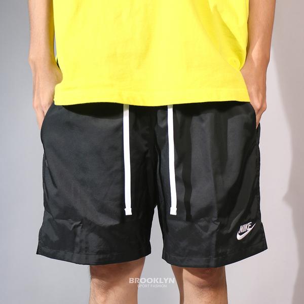 NIKE 短褲 NSW 短褲 風褲材質 黑白 輕量 口袋 健身 慢跑 男 (布魯克林) AR2383-010