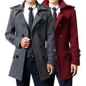 男士大衣外套 毛呢大衣中長款雙排扣青年風衣修身韓版男裝加厚外套