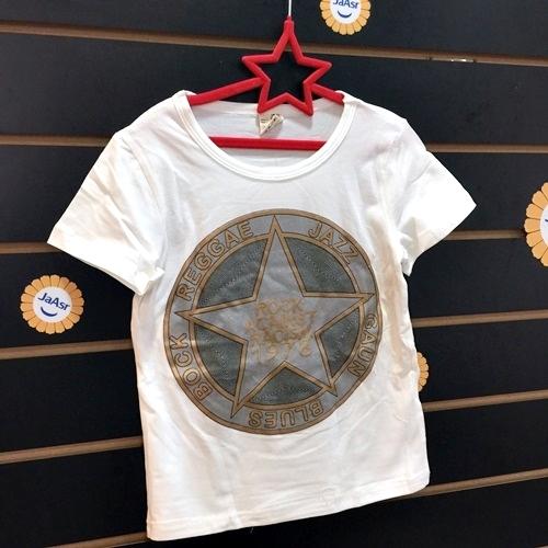 ☆棒棒糖童裝☆(030502)夏男童白色星星帥氣棉質上衣 5-17