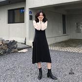 大碼配大衣連身裙子毛衣針織兩件套裝【愛物及屋】